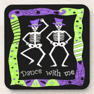 Black Happy Halloween Whimsy Dancing Skeletons Beverage Coasters