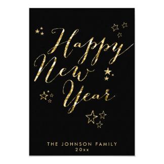 Black Happy New Year Cards Gold Foil 13 Cm X 18 Cm Invitation Card