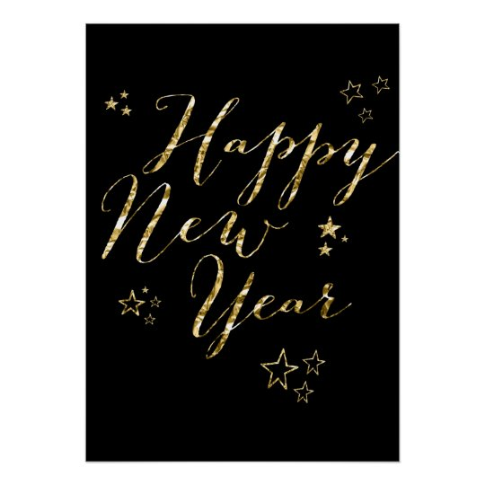 Black Happy New Year Gold Sign Print 20x28