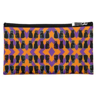 Black Harlequin Cats Purple & Orange Makeup Bag