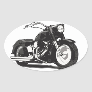 Black Harley motorcycle Oval Sticker