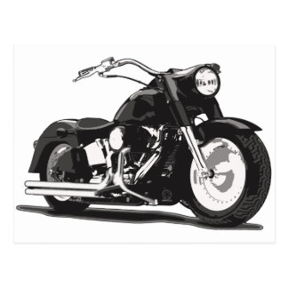 Black Harley motorcycle Postcard