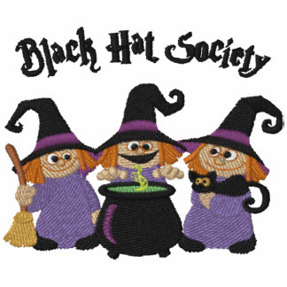 Black Hat Society Embroidered Ladies Zipped Hoodie