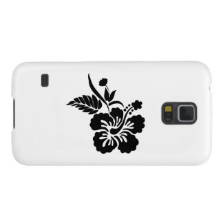 Black Hawaiian Flowers Galaxy S5 Cases