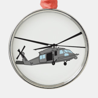 Black Hawk Helicopter Silver-Colored Round Decoration