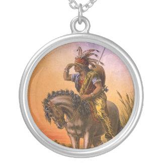 Black Hawk Native American Indian Round Pendant Necklace