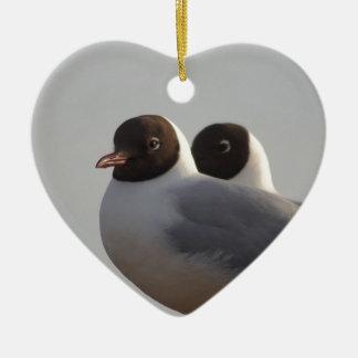 black-headed gull ceramic heart decoration