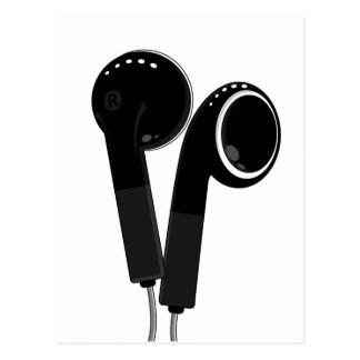 Black Headphone Postcard