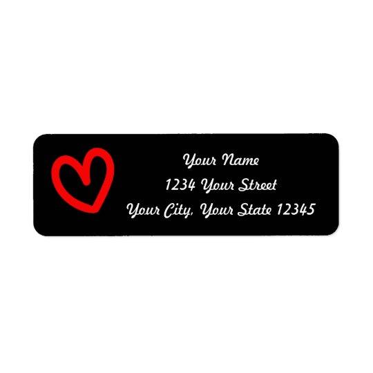 Black Heart Address Label