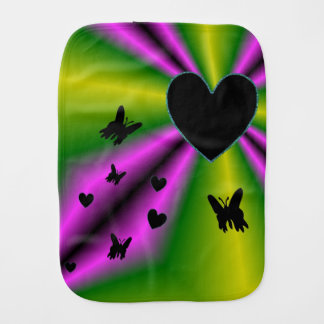 Black Heart and Butterfly on Purple Green Rainbow Burp Cloth