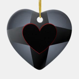 Black Heart Cross Christmas Ornament
