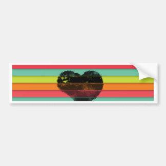 Black heart on funky tiles background bumper sticker