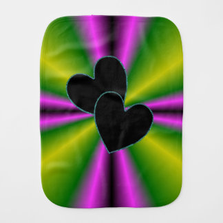 Black Heart on Purple Green Rainbow Burp Cloth