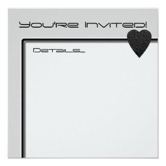Black Heart. Patterned Heart Design. 13 Cm X 13 Cm Square Invitation Card