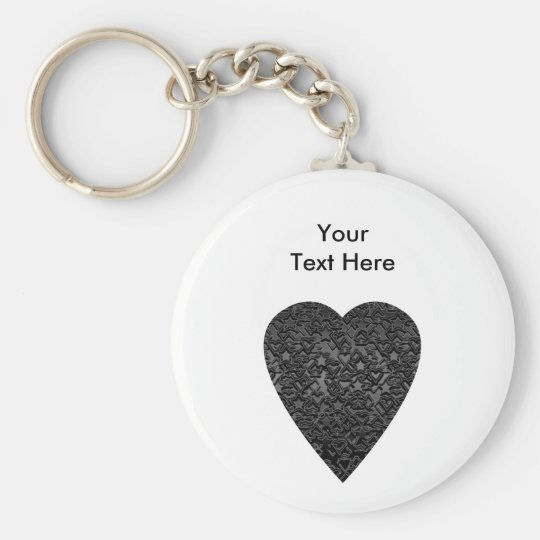 Black Heart. Patterned Heart Design. Basic Round Button Key Ring