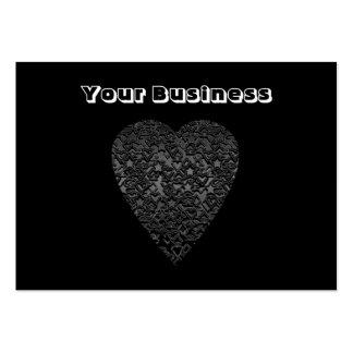 Black Heart. Patterned Heart Design. Business Cards