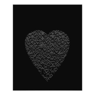 Black Heart. Patterned Heart Design. Personalized Flyer