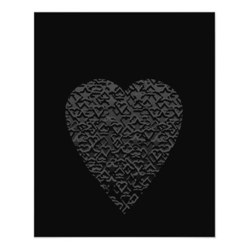 Black Heart. Patterned Heart Design. Personalized Flyer