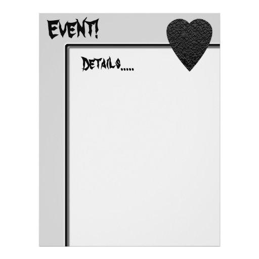 Black Heart. Patterned Heart Design. Flyer