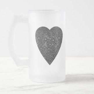 Black Heart. Patterned Heart Design. Frosted Glass Beer Mug