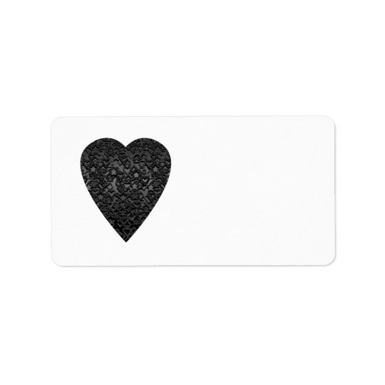 Black Heart. Patterned Heart Design. Label