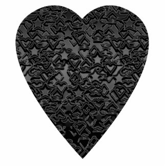 Black Heart. Patterned Heart Design. Photo Sculpture Badge