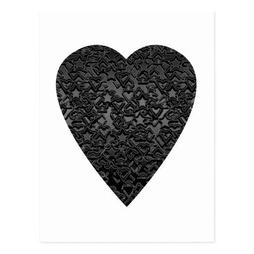 Black Heart. Patterned Heart Design. Postcards