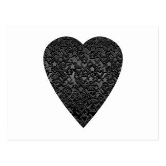 Black Heart. Patterned Heart Design. Postcard