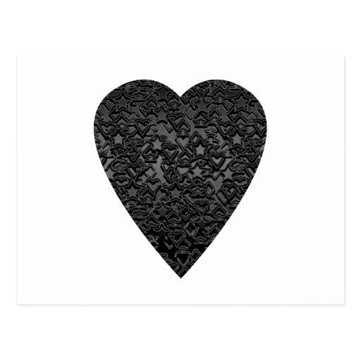 Black Heart. Patterned Heart Design. Post Card