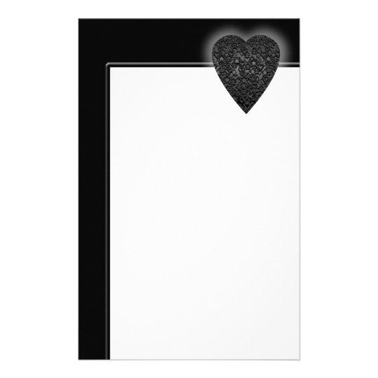 Black Heart. Patterned Heart Design. Stationery