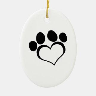 Black Heart Paw Print Christmas Ornament