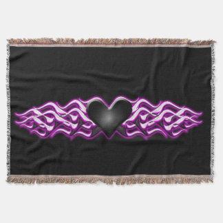 Black Heart /Pink Flames Throw Blanket