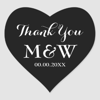 Black heart shaped wedding favor thank you sticker