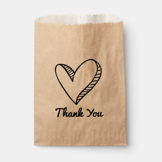 Black Heart Thank You Wedding / Party Favour Bags