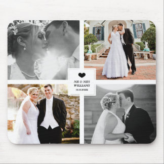 Black Heart Wedding Photo Collage Mouse Mat