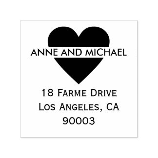 black heart with couple names and address self-inking stamp