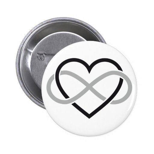 Black heart with infinity sign pin