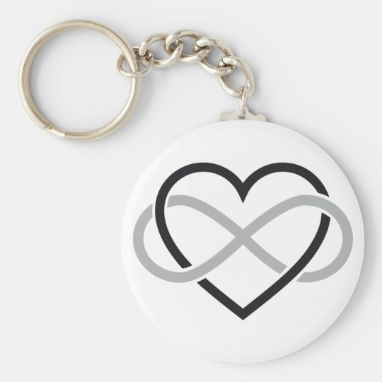 Black heart with infinity sign basic round button key ring