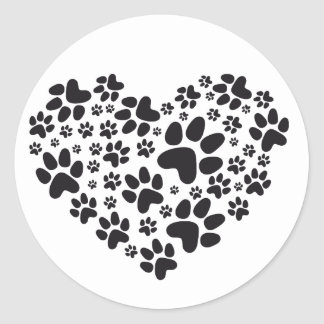black heart with paws, animal foodprint pattern round sticker