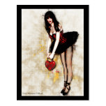 Black Hearted Gothic Art Postcard