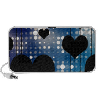 Black Hearts and Blue Glitter Travelling Speakers