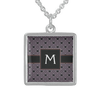 Black Hearts And Dots Plaid Pattern With Initial Sterling Silver Necklace