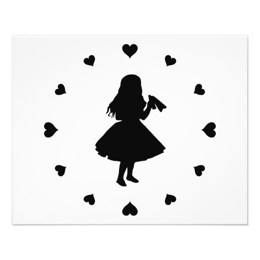 Black Hearts Around Alice Drinks Flyer Design
