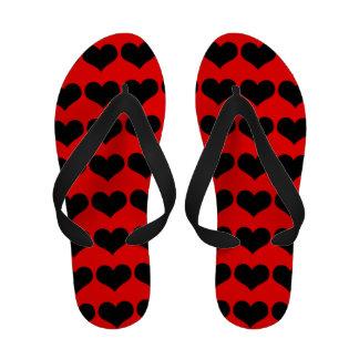 Black Hearts Flip Flops