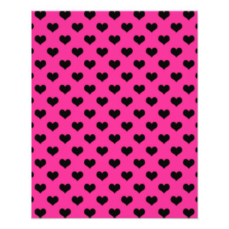 Black Hearts Hot Pink Background Polka Dot Heart Art Photo