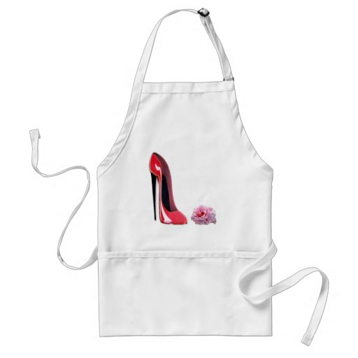 Black heel red stiletto shoe and rose apron