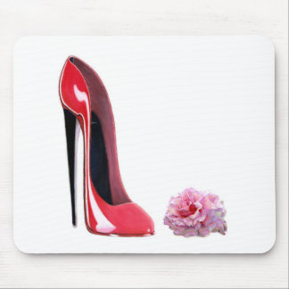 Black heel red stiletto shoe and rose mouse pad