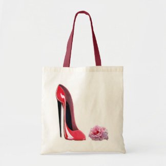 Black heel red stiletto shoe and rose tote bag
