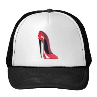 Black heel, red stiletto shoe trucker hat