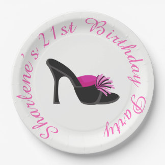 Black Heels Shoes with Black Polka Dots Paper Plate